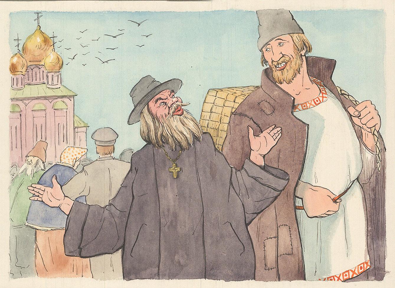 Картинки сказка пушкина поп и его работник балда